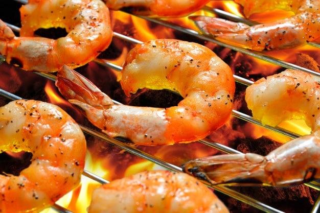 grilling cooked shrimp