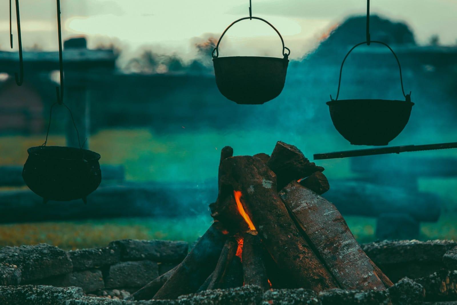 three hanging pots