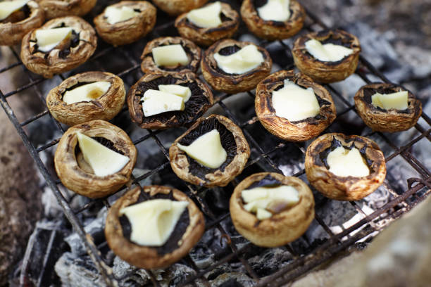 Stuffed Mushrooms on the Outdoor Barbecue
